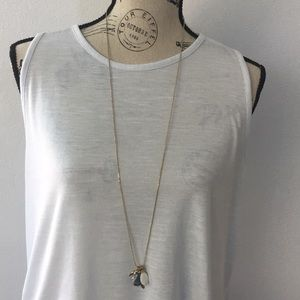 Long Adjustable Necklace with Multiple Pendants
